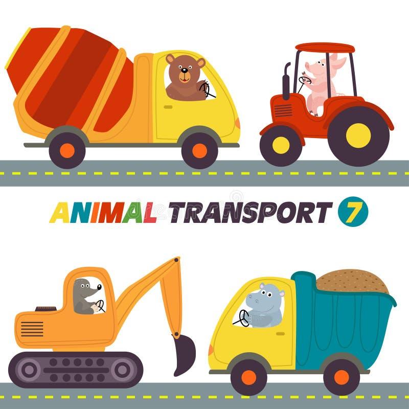 Reeks geïsoleerde transporten met dierendeel 7 royalty-vrije illustratie