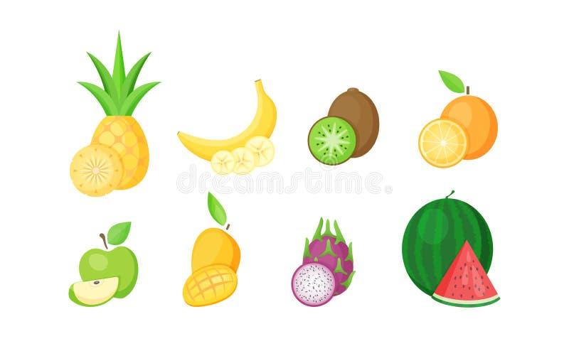 Reeks geïsoleerde tropische vruchten met plakken royalty-vrije illustratie