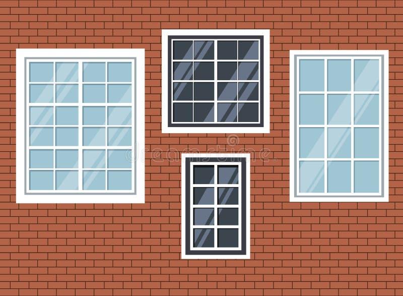 Reeks geïsoleerde vensters op rode bakstenen muurachtergrond royalty-vrije illustratie