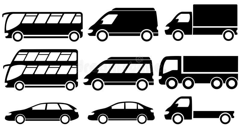 Reeks geïsoleerde vervoerpictogrammen vector illustratie