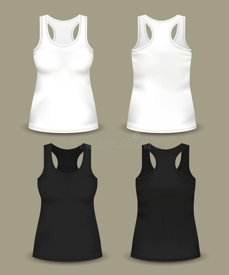 Reeks geïsoleerde vrouwen sleeveless bovenkant of t-shirts vector illustratie