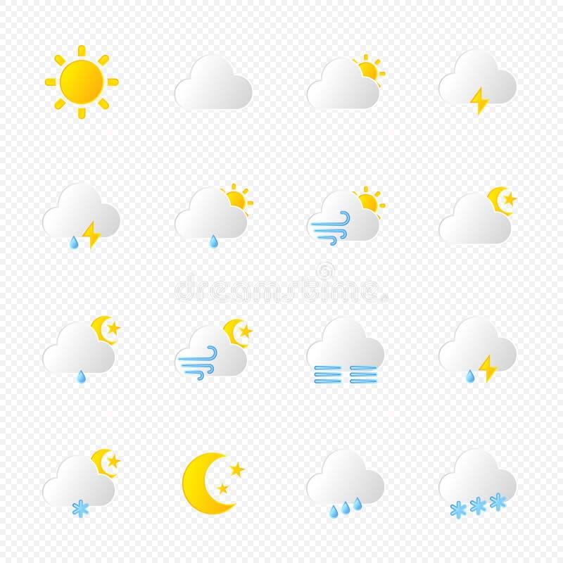 Reeks geïsoleerde weerpictogrammen vector illustratie