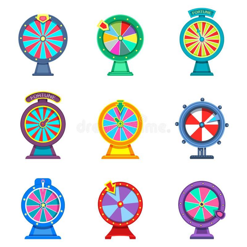 Reeks geïsoleerde wielen van fortuin of roulettes stock illustratie