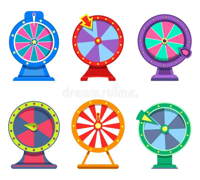 Reeks geïsoleerde wielen van fortuin voor casino royalty-vrije illustratie