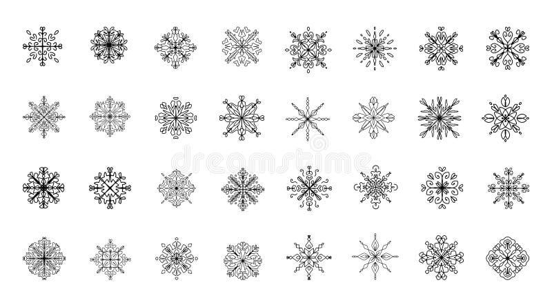 Reeks geïsoleerde zwarte abstracte ornamenten op wit royalty-vrije illustratie
