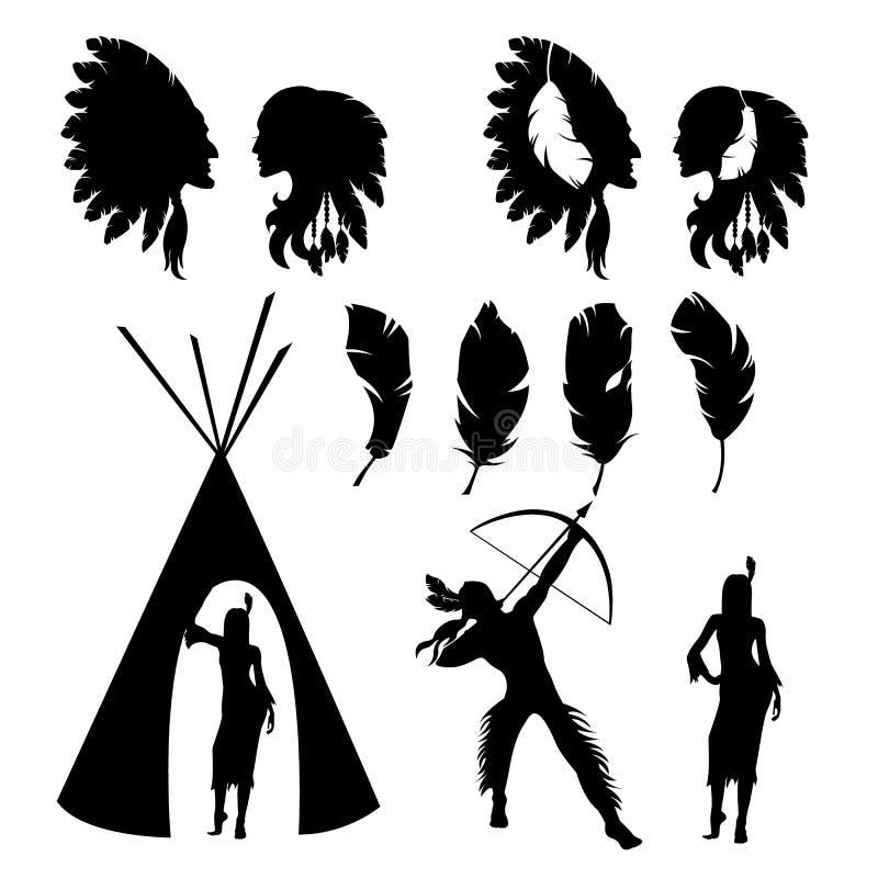 Reeks geïsoleerde zwarte silhouetten van Indiërs op witte achtergrond vector illustratie