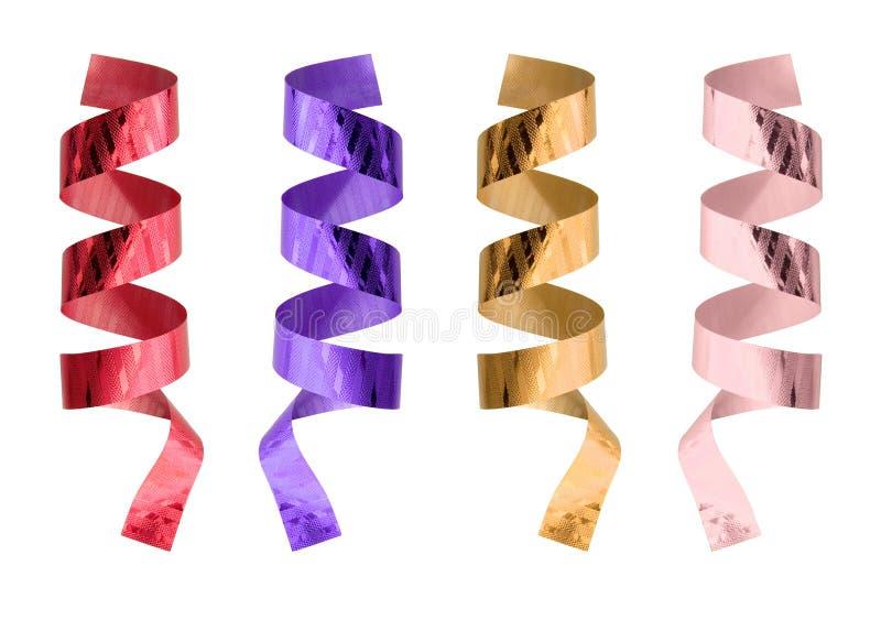Reeks Geïsoleerder kleurenlinten stock afbeelding