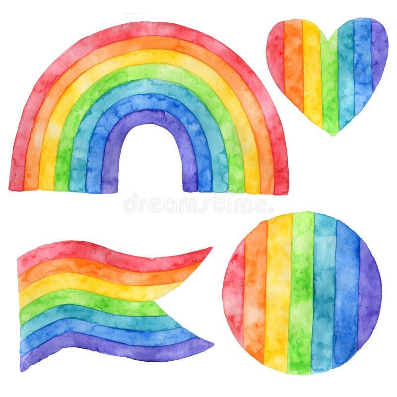 Reeks ge?soleerde voorwerpen Waterverfvlekken Regenboog vector illustratie