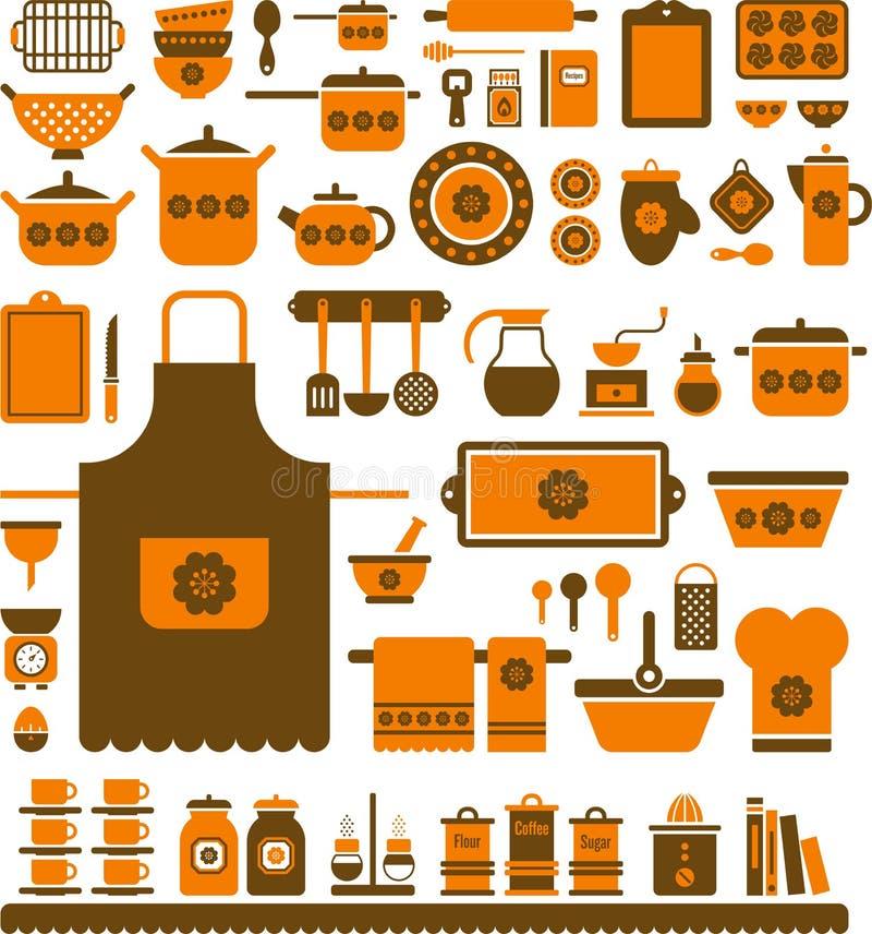 Reeks geassorteerde keukengereedschap en schotels stock illustratie