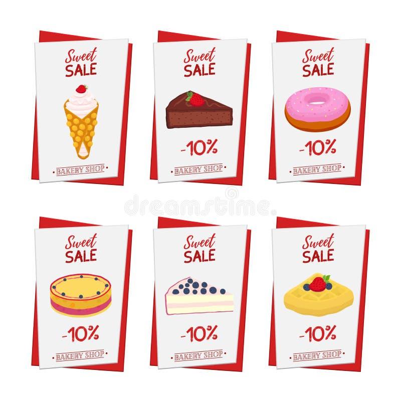 Reeks gebakjeaffiches, banners voor zoet voedsel Doughnut, kaastaart vector illustratie
