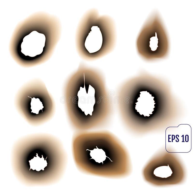 Reeks gebrande gaten op witte achtergrond geïsoleerde vectorillustra stock illustratie