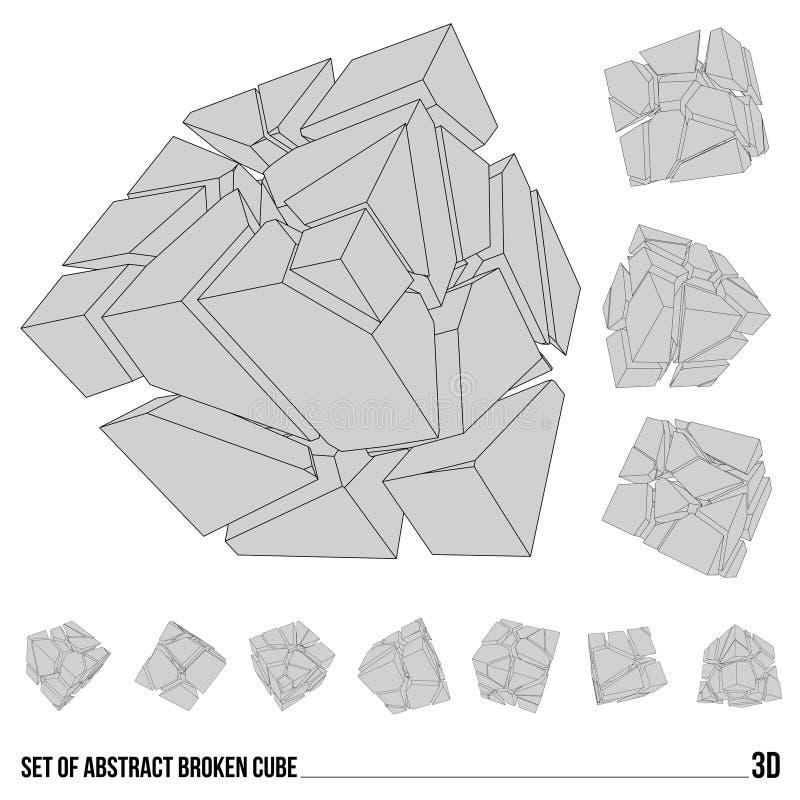 Reeks gebroken kubussen stock fotografie