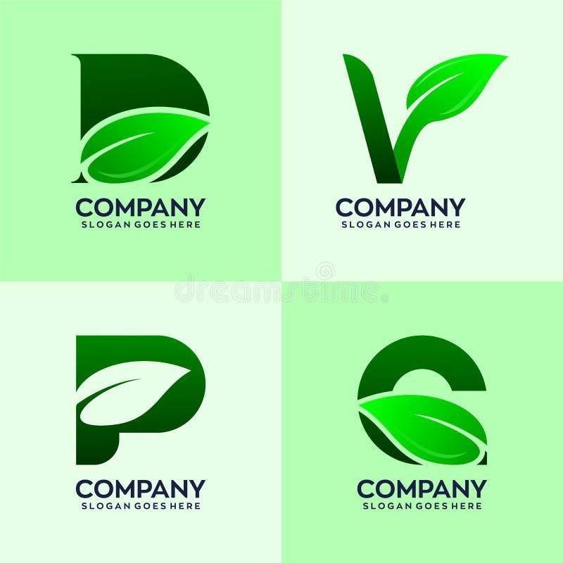 Reeks gecombineerde brieven met natuurlijke embleembladeren vector illustratie