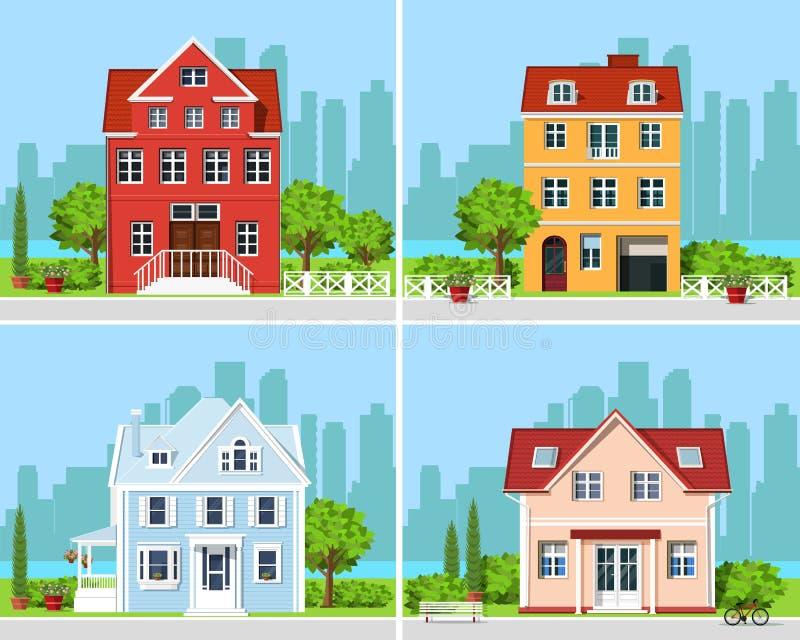 Reeks gedetailleerde kleurrijke moderne plattelandshuisjehuizen met bomen en stadsachtergrond Grafische gebouwen Vector illustrat stock illustratie