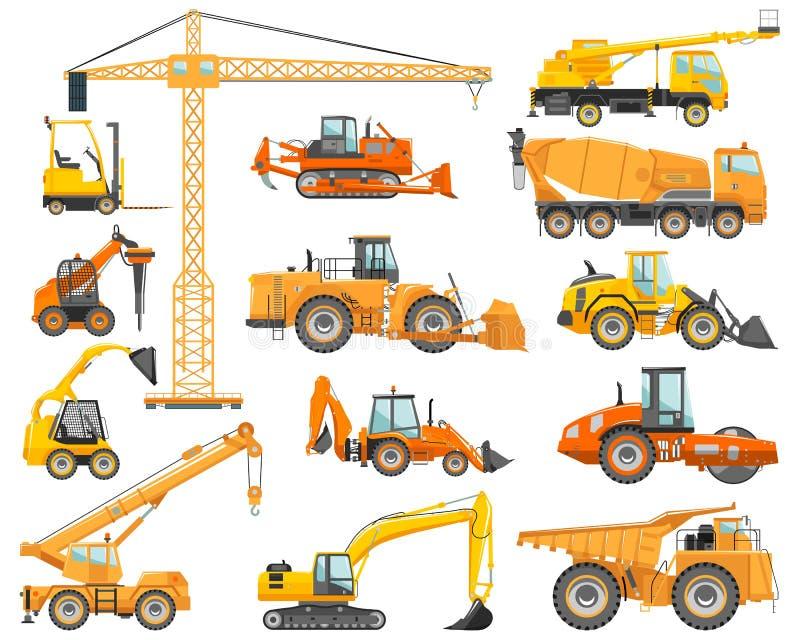 Reeks gedetailleerde zware bouw en mijnbouwmachines in vlakke stijl op de witte achtergrond Bouwmachines stock illustratie