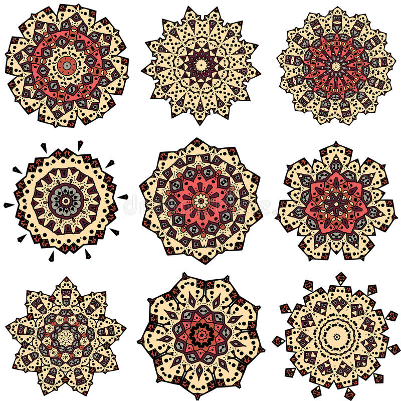 Reeks geeloranje mandalas royalty-vrije illustratie