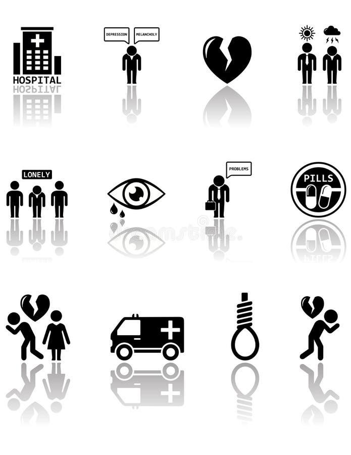 Reeks geestelijke gezondheidspictogrammen royalty-vrije illustratie