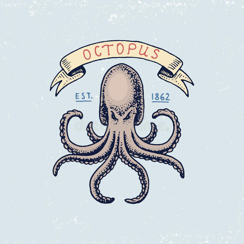 Reeks gegraveerde getrokken, oude wijnoogst, hand, etiketten of kentekens voor Atlantisch golf, octopus of overzees schepsel Mari royalty-vrije illustratie