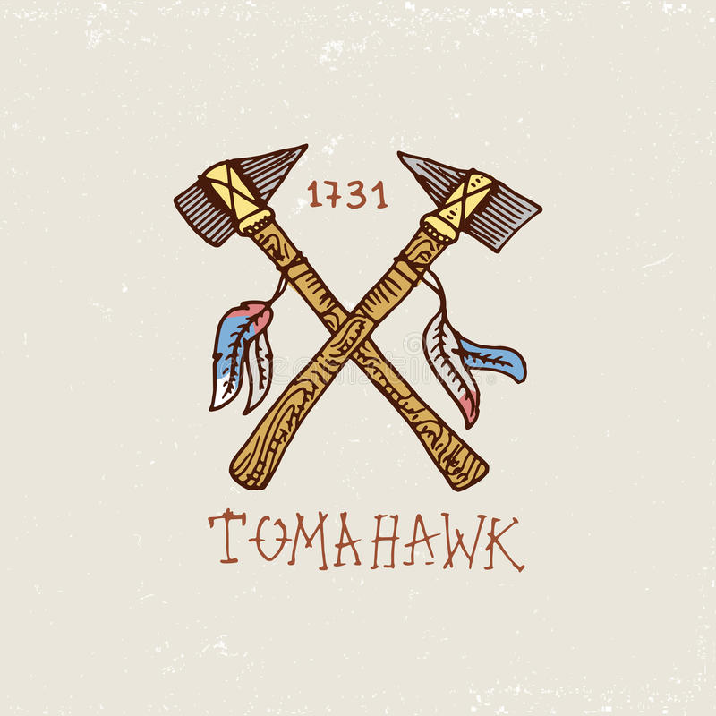Reeks gegraveerde getrokken, oude wijnoogst, hand, etiketten of kentekens voor Indische of inheemse Amerikaan assen en tomahawk royalty-vrije illustratie