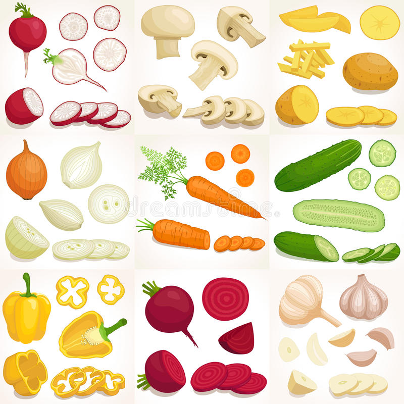 Reeks gehele en gesneden groenten Vector illustratie stock illustratie