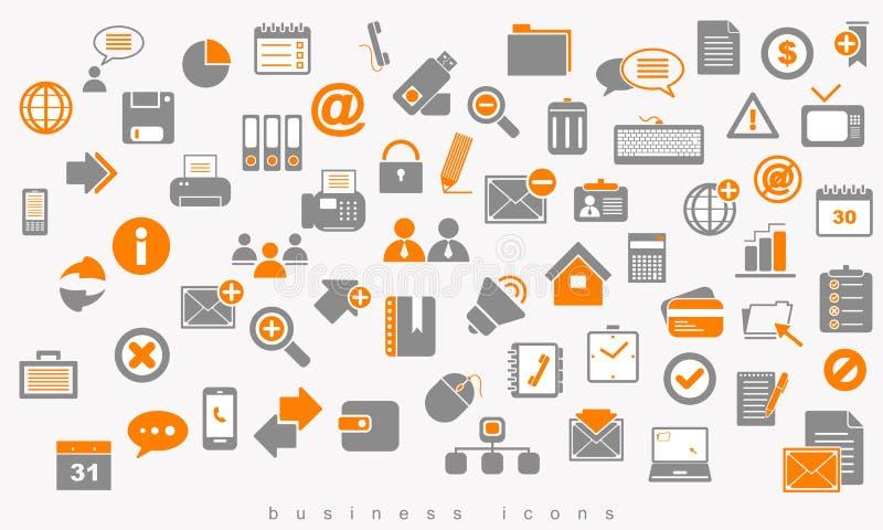 Reeks gekleurd pictogrammen bedrijfstekenweb vector illustratie