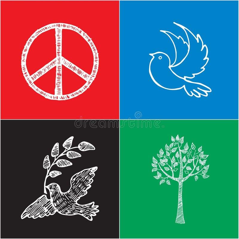 Reeks Gekleurde Affiches voor Internationale Vredesdag vector illustratie