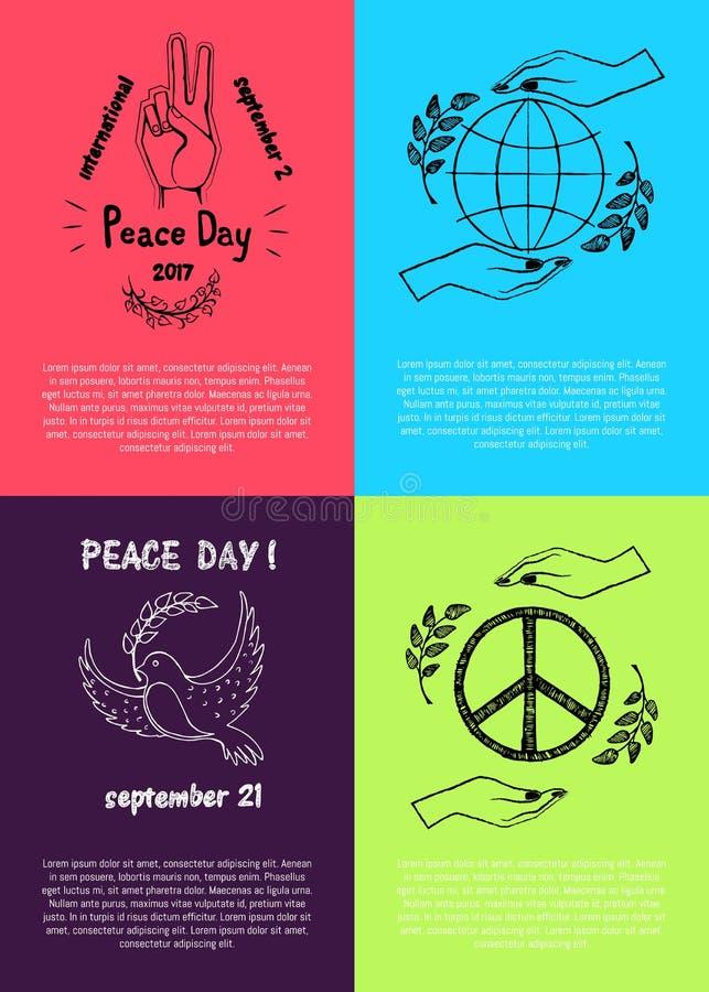 Reeks Gekleurde Affiches voor Internationale Vredesdag royalty-vrije illustratie