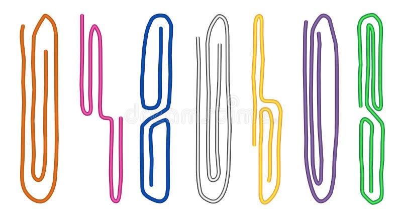 Reeks gekleurde die paperclippen op witte achtergrond wordt geïsoleerd Hulpmiddelen voor onderwijs en het werk Kantoorbehoeften e vector illustratie
