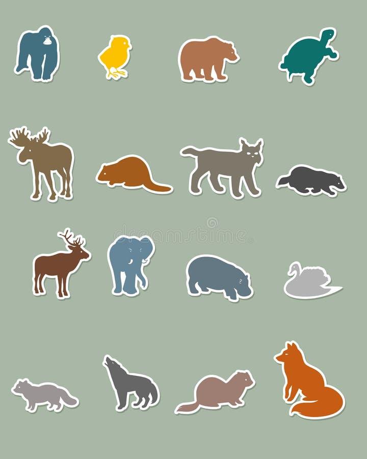 Reeks gekleurde dierlijke silhouetten vector illustratie
