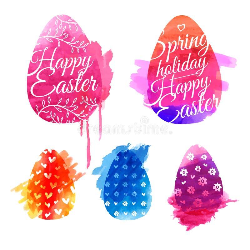 Reeks gekleurde eieren met waterverftexturen royalty-vrije illustratie