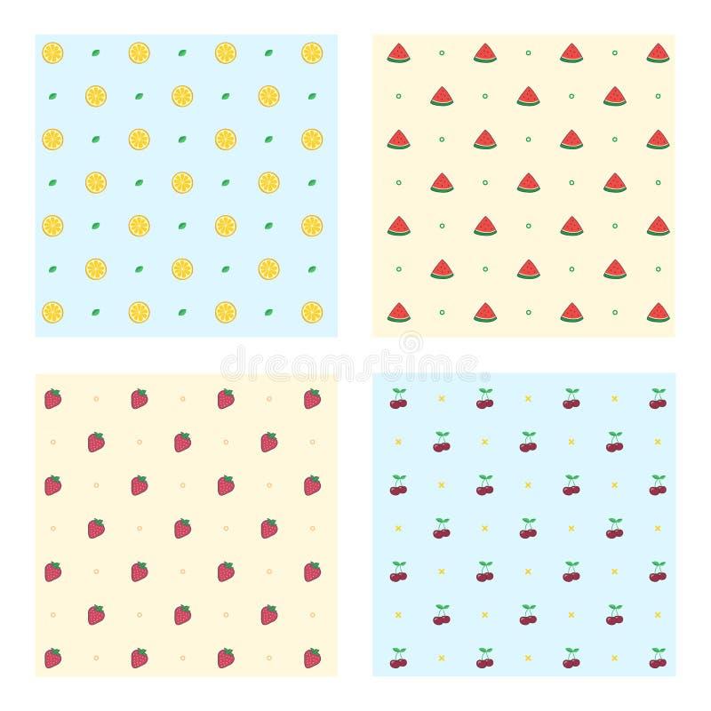 Reeks gekleurde fruitpatronen stock illustratie