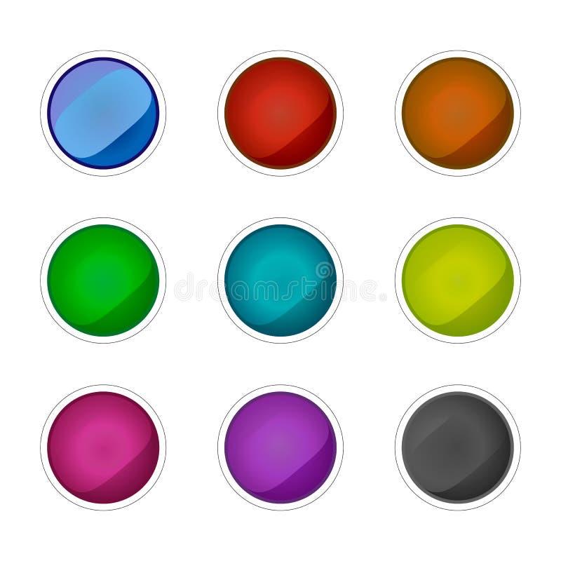Reeks gekleurde glasknopen Het winkelen markeringen en pictogrammen vector illustratie