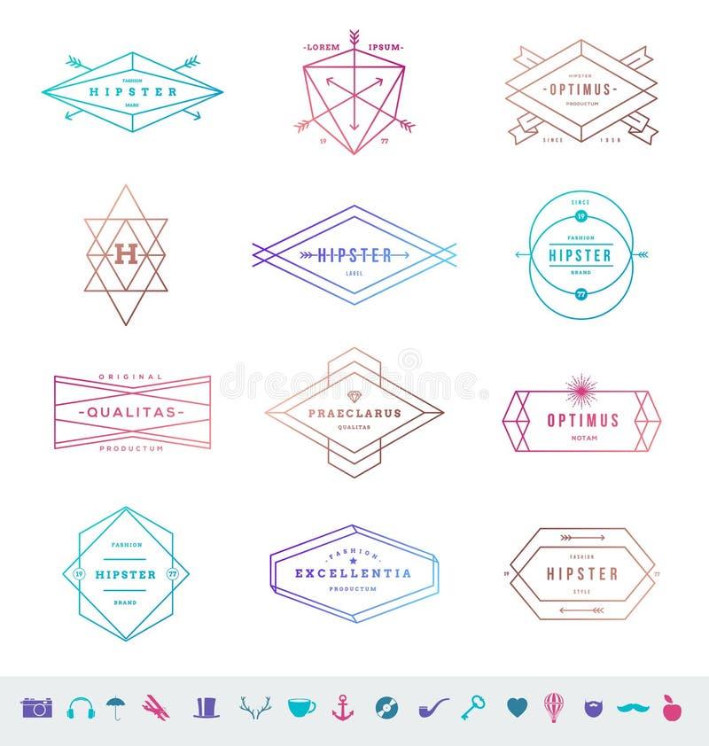 Reeks gekleurde hipster lijnemblemen stock illustratie