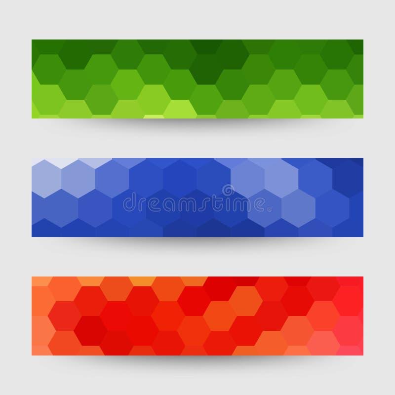 Reeks gekleurde honingraten reclamelay-outs - Vektorgrafik Abstracte vectorachtergrond vector illustratie