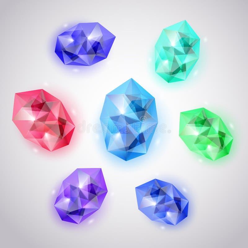 Reeks gekleurde kristallen vector illustratie