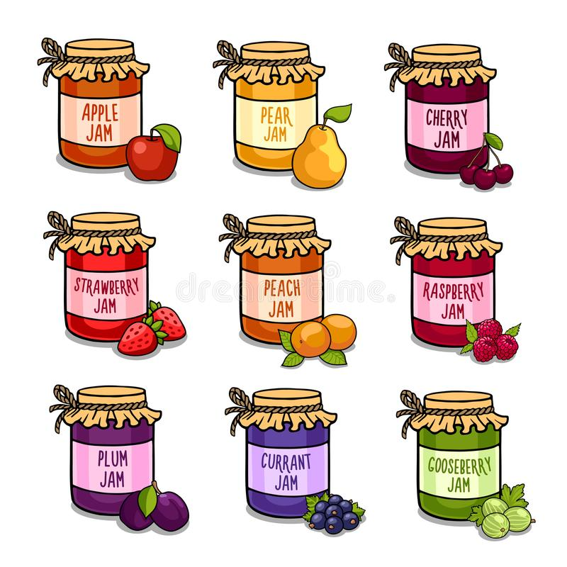 Reeks gekleurde kruiken met heerlijke eigengemaakte jam stock illustratie