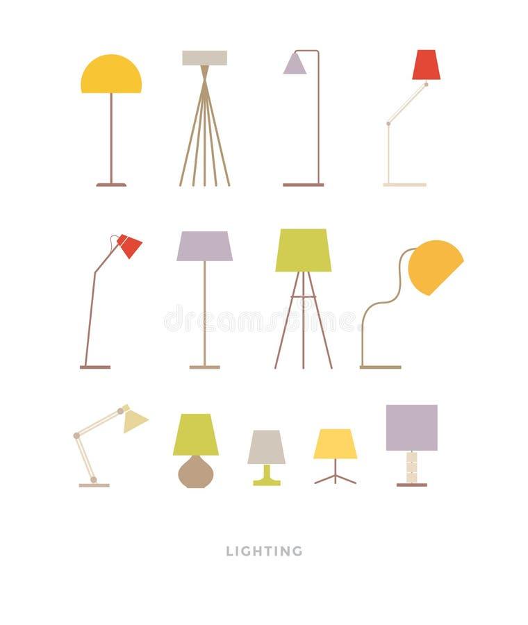 Reeks Gekleurde Lampen vector illustratie