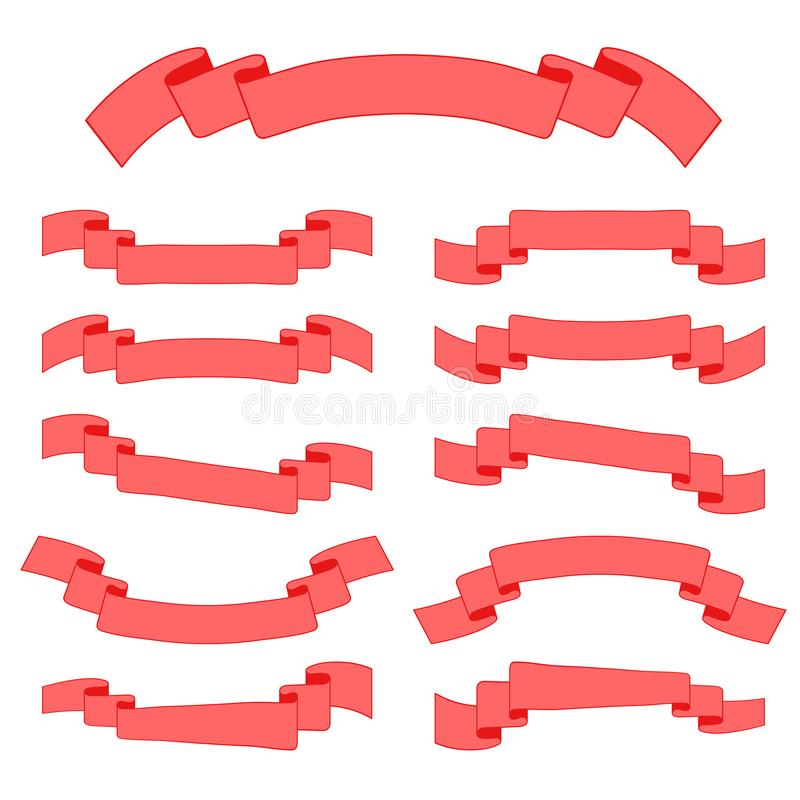 Reeks gekleurde lintbanners Met ruimte voor tekst Eenvoudige vlakke vectordieillustratie op witte achtergrond wordt geïsoleerd Ge vector illustratie
