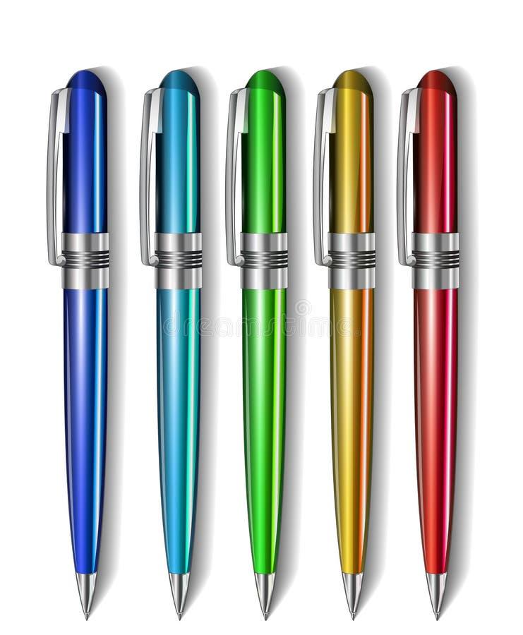 Reeks gekleurde pennen vector illustratie