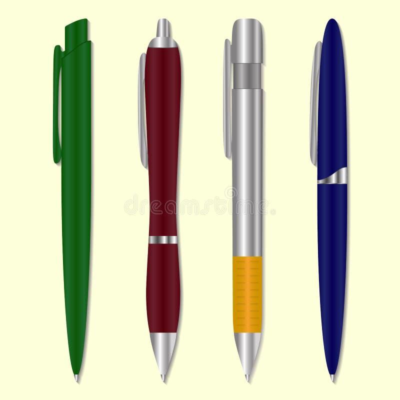 Reeks gekleurde pennen Vector illustratie vector illustratie