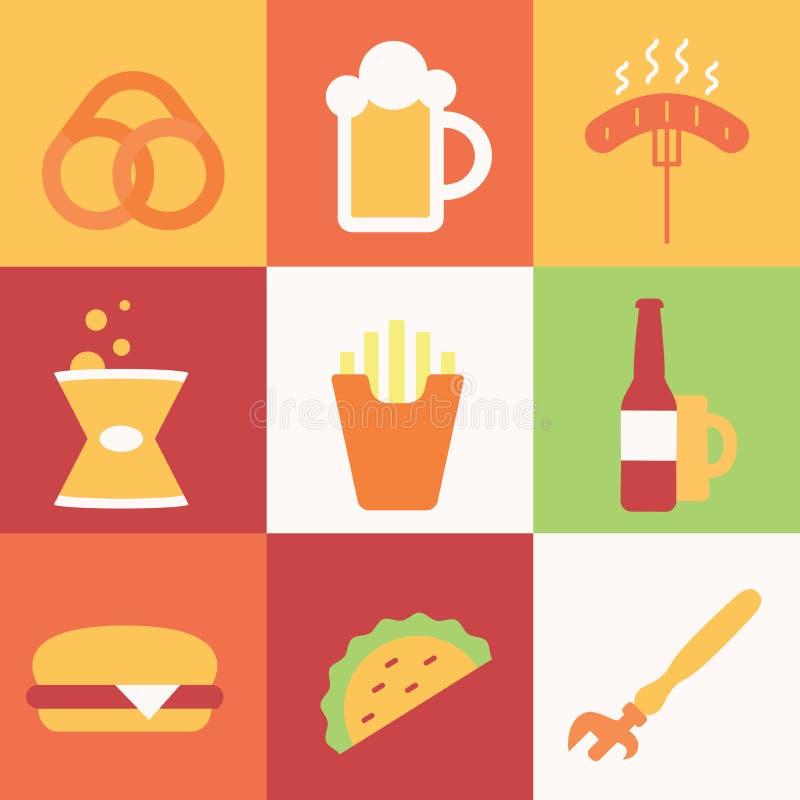 Reeks gekleurde pictogrammen met bier stock illustratie