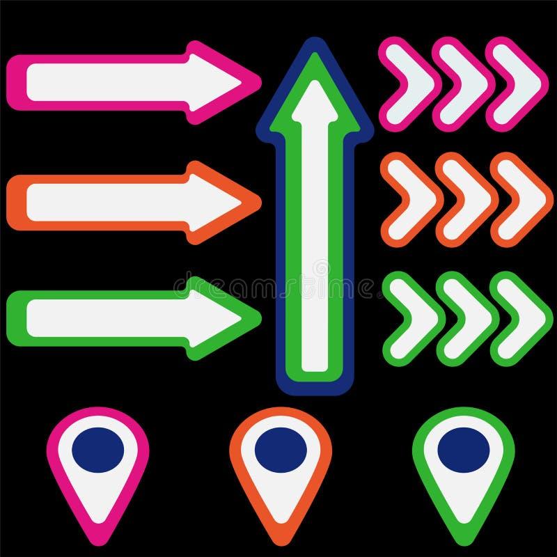 Reeks gekleurde pijlen en wijzers vector illustratie