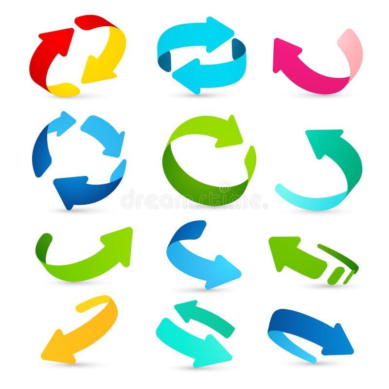 Reeks gekleurde pijlenpictogrammen Vector royalty-vrije illustratie