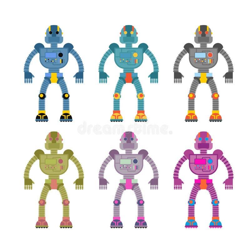 Reeks gekleurde robots Retro mechanisch speelgoed Uitstekende ruimte cyborgs stock illustratie