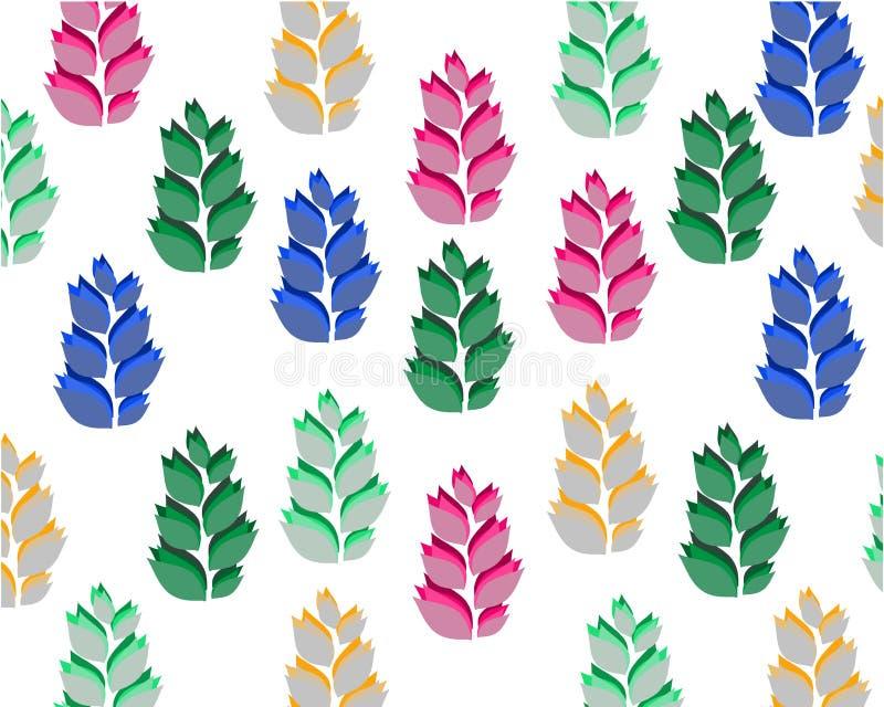 Reeks gekleurde symmetrische bladeren op witte achtergrond royalty-vrije illustratie