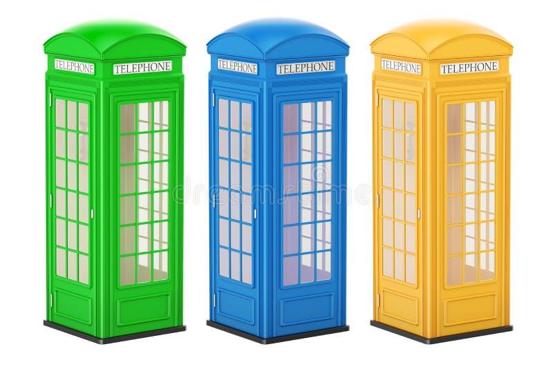Reeks gekleurde telefooncellen, het 3D teruggeven royalty-vrije illustratie