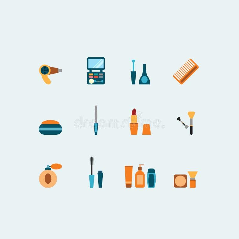 Reeks gekleurde vector het hairstyling en make-uppictogrammen stock illustratie