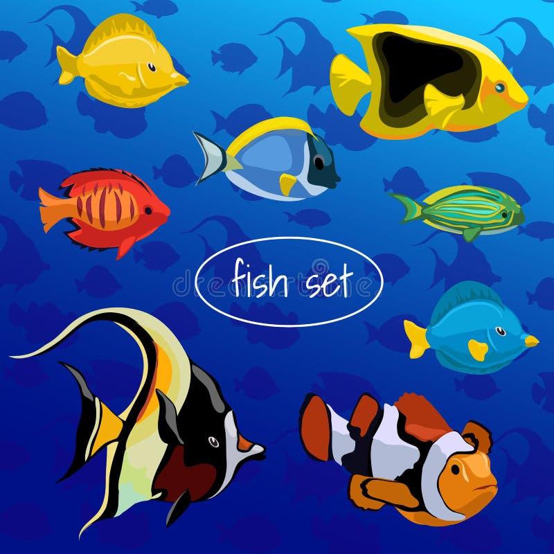 Reeks gekleurde verschillende vissen op een blauwe achtergrond royalty-vrije illustratie