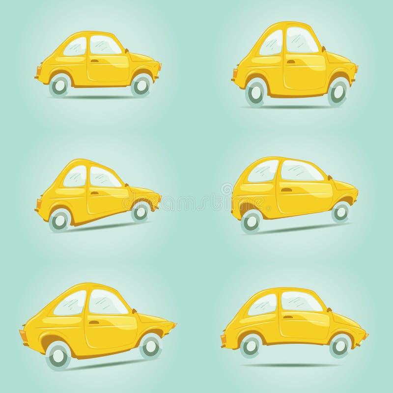 Reeks gele beeldverhaalauto's royalty-vrije stock foto's