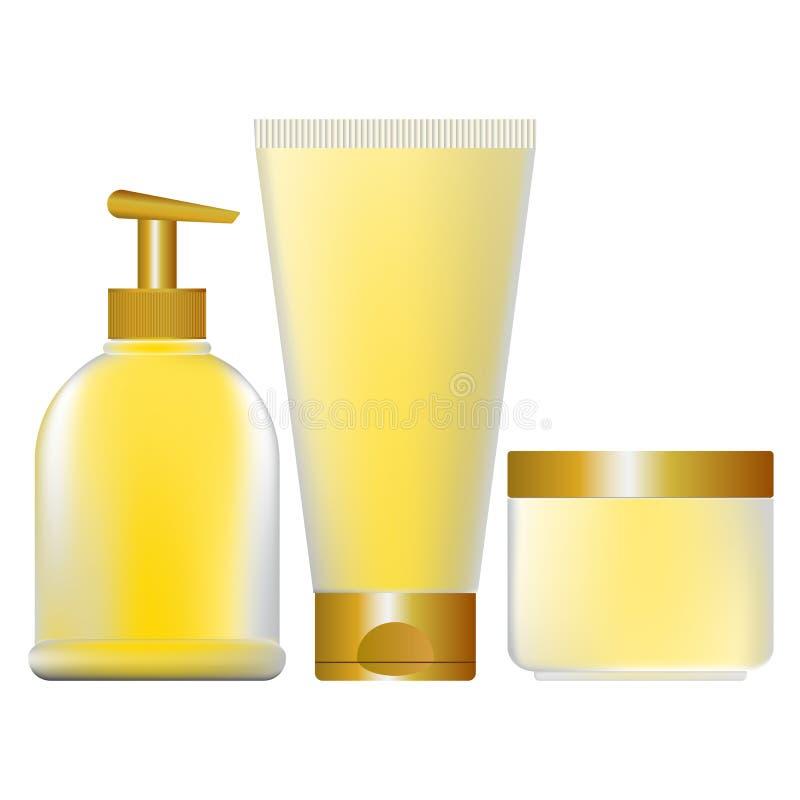Reeks gele containers voor schoonheidsmiddelen stock illustratie